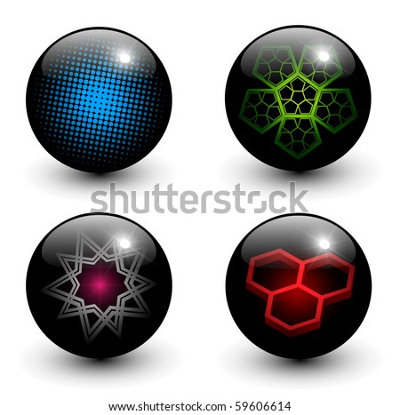 Abstract glossy globes with different inner patterns