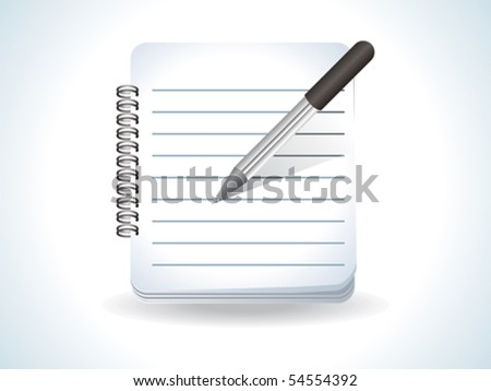 abstract glossy notepad icon vector illustration with pen