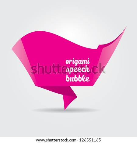 Abstract glossy pink origami speech bubble. Vector abstract lovely background. Vector brochure design.