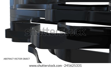 abstract glossy plastic ribbons isolated on white - stock vector