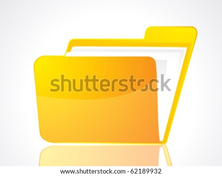 abstract glossy & shiny folder icon vector illustration - stock vector