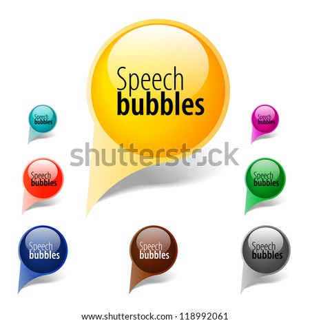 Abstract glossy speech bubble - stock vector