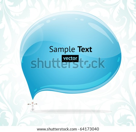 Abstract glossy speech bubble vector background with snowman and winter ornament. - stock vector