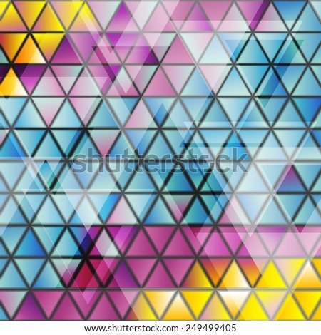 Abstract glossy triangles bright pattern. Vector background - stock vector