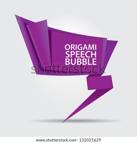 Abstract glossy violet origami speech bubble. Vector violet abstract background. - stock vector