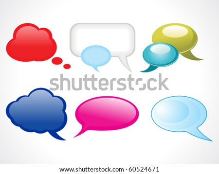 abstract glossy web chat balloons vector illustration