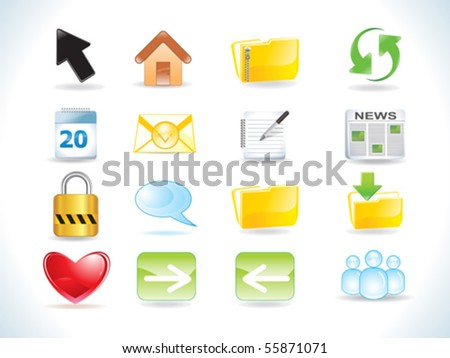 abstract glossy web icons set vector illustration