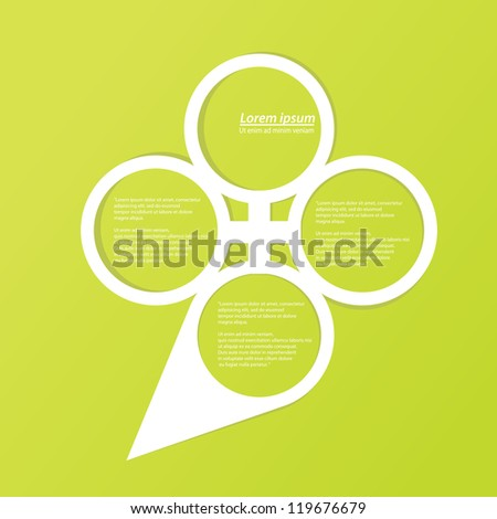 Abstract glossy white origami speech bubble green background. Vector abstract cut paper background.Green brochure template.