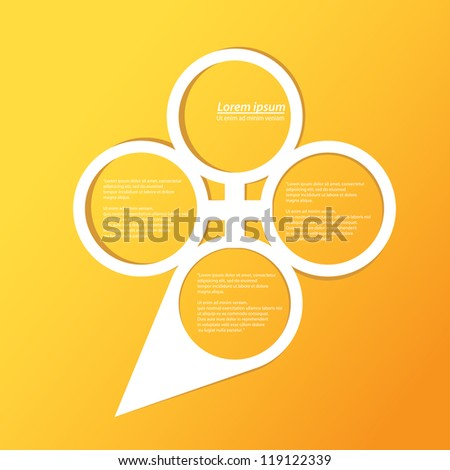 Abstract glossy white origami speech bubble on orange background. Vector abstract cut paper background.Yellow brochure template. - stock vector
