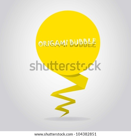 Abstract glossy yellow origami speech bubble. Vector illustration.