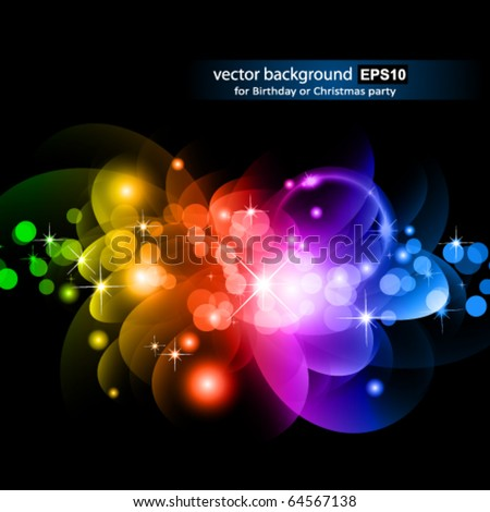Abstract Glowing Circles of llight with Raibow Colours Background - stock vector