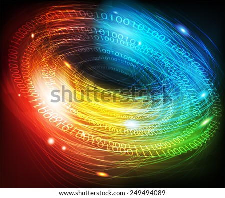 Abstract glowing digital background with a binary code - stock vector
