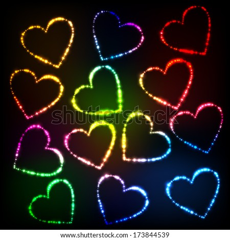Abstract glowing heart shaped lights with copy space - stock vector
