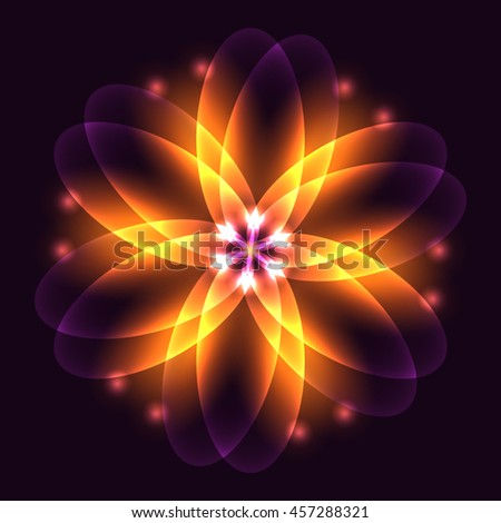 Abstract glowing light flower, symbol of life and energy, fire fractal. Vector illustration.  - stock vector