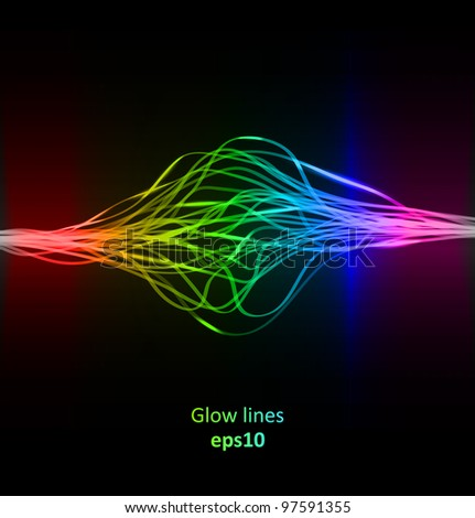 Abstract glowing lines with rainbow colors background