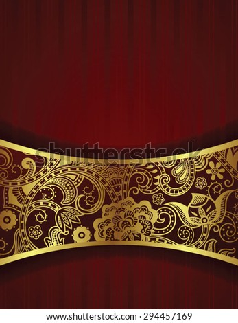 Abstract Gold and Floral Frame Background - stock vector