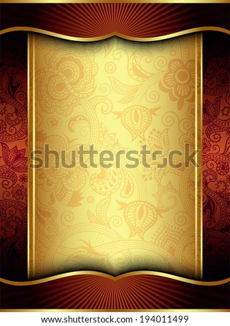 Abstract Gold and Red Floral Frame Background - stock vector