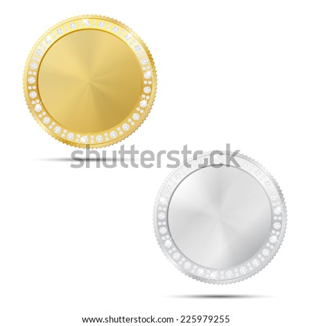 Abstract gold and silver coin or frame with diamonds and place for your text or icon - isolated on white background. Vector illustration.