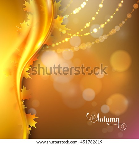 Abstract gold background with curved wave stripes in vibrant autumn colors with leaves. Back to school. Vector illustration.