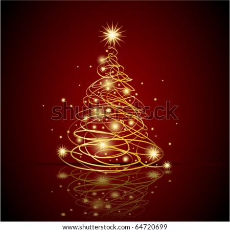 Abstract gold christmas tree, eps8 - stock vector