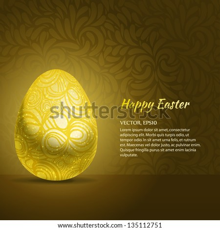 Abstract gold easter egg gift card stock vector 135112751 abstract gold easter egg gift card template vector illustration negle Choice Image