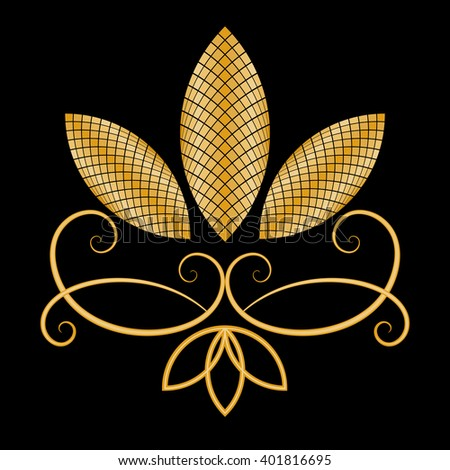Abstract gold flower on black background vector card. - stock vector