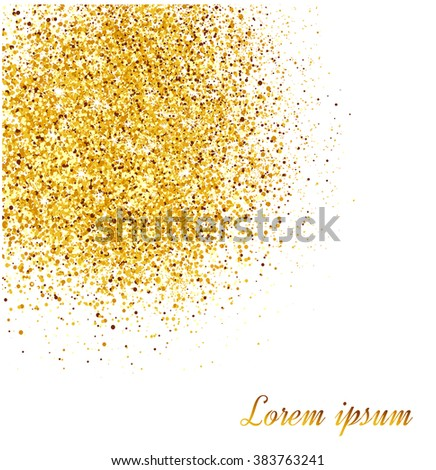 Abstract gold glitter background.  Bright sparkles for card.