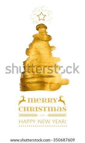 Abstract Gold paint triangle christmas tree , modern design gold fir, Merry Christmas and happy new year business  greeting card - stock vector