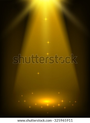 Abstract gold spotlight background - stock vector
