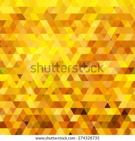 Abstract gold triangle geometric background. Vector illustration - stock vector