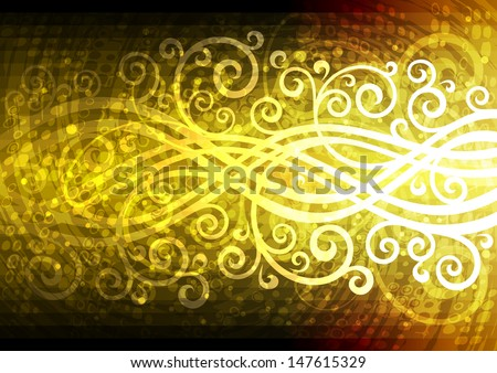 Abstract gold vector floral illustration.
