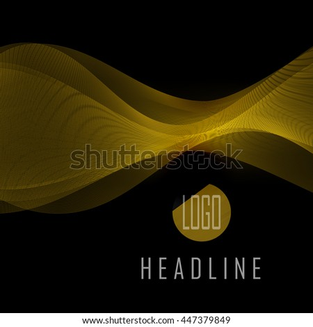 Abstract gold waves on black background. Transparent waved lines for brochure, website, flyer, card, template design  - Vector illustration EPS10 - stock vector