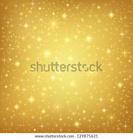 Abstract golden background with sparkling twinkling stars. Gold Cosmic atmosphere illustration - stock vector