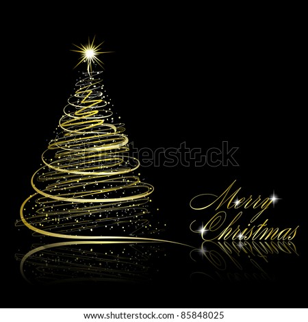 Abstract golden christmas tree on black background. Vector eps10 illustration - stock vector