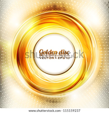 Abstract golden disk. Vector