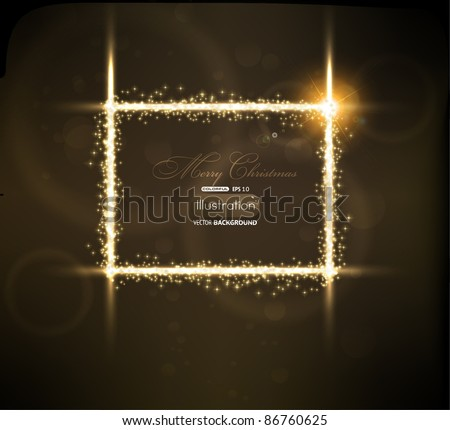 Abstract golden frame on black background. Vector eps10 illustration - stock vector
