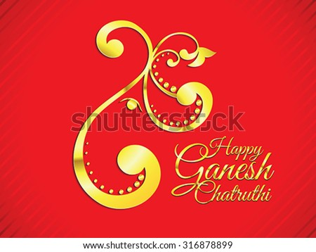 abstract golden ganesh chaturthi background vector illustration - stock vector