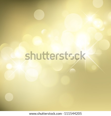 Abstract Golden Holiday Background With Lights and Stars - stock vector