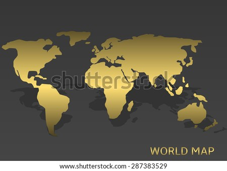 Abstract Golden World map on the grey background. Vector illustration - stock vector