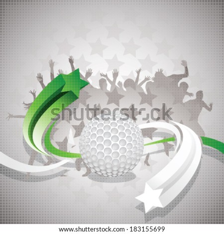 Abstract golf background with golf ball, green and white arrows and watchers - stock vector