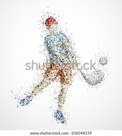 Abstract golf player, kick the ball. Eps 10 - stock vector