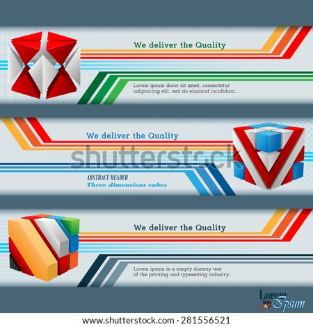 Abstract graphic, design web banner; Header layout template; Set of banners with colorful cubes on linear geometric design and space for text.  - stock vector