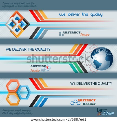 Abstract graphic, design web banner; Header layout template; Set of banners with squares, hexagons, earth globe and space for text.  - stock vector