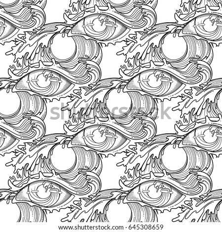 Abstract Graphic Eye Decorated Storm Waves Stock Vector 525173083 ...