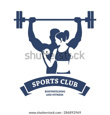Abstract graphic illustration with silhouettes of man with barbell and woman with dumbbell as a design for logo, banner or poster for bodybuilding or fitness club. Isolated on white background. - stock vector