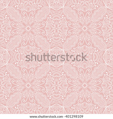 Abstract graphic pink and white background, seamless lace pattern, repeating floral geometric texture. Tribal ethnic ornament, hand drawn doodle sketch vector illustration.  - stock vector