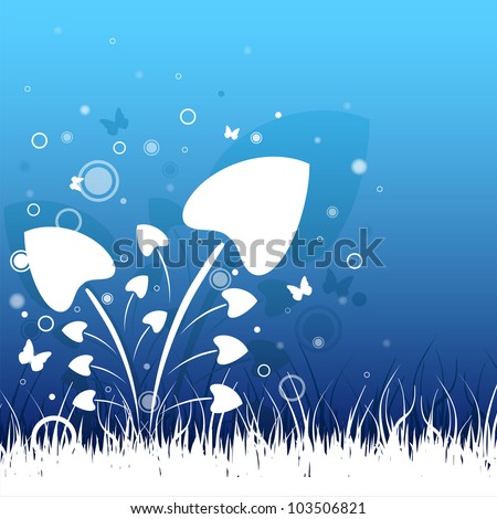 Abstract grass and flowers on blue background - stock vector