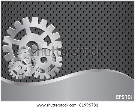 Abstract gray background with a metal gears and grid - stock vector