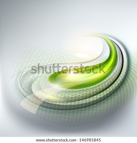 Abstract gray background with green drop - stock vector