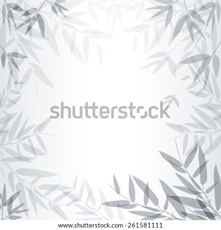 Abstract gray background with leaves. Vector illustration. - stock vector